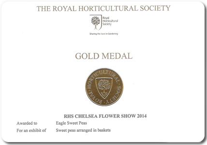 Our Chelsea Gold Medal awarded at the Chelsea Flower Show 2014