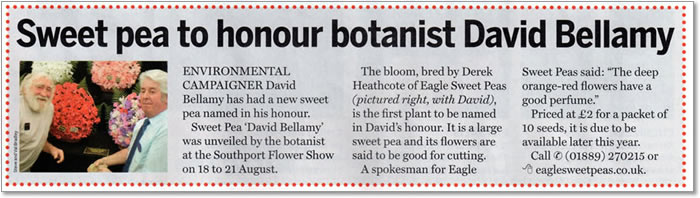 Professor David Bellamy being presented with the new sweet pea at Southport Flower Show in 2011. Article in Amateur Gardening