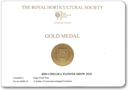 Our Chelsea Gold Medal awarded at the Chelsea Flower Show 2018